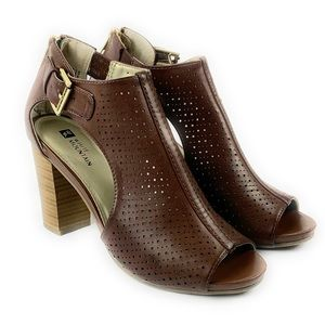 White Mountain Brown Perforated Open Toe Shoe SZ 8